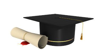 Certificato Diplaoma di laurea a sinistra e cappello di laurea a destra
