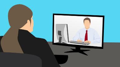 disegno di due persone in videoconferenza
